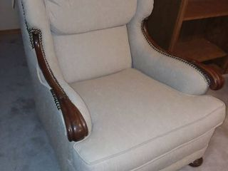 Tan Upholstered Sitting Chair