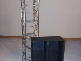 Metal CD Rack 37 x 6 5 x 6 in with Plastic CD Rack 16 x 12 5 x 6 in
