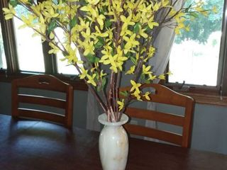 Onyx Vase 12 in Tall with Faux Floral Arrangement