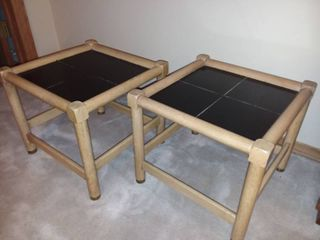 Pair of Wood and Black Top End Tables 14 x 16 x 16 in Each