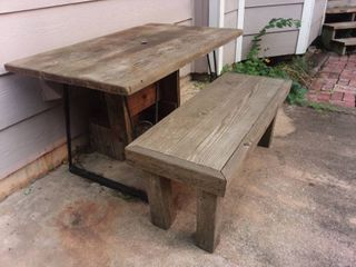 Wood and Iron Table 28 x 48 x 30 in with Wood Bench 18 x 45 x 18 in