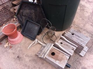Wood Birdhouses with Assorted Planter Trays and Clay Pot
