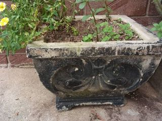 Cement Planter with Flowers 9 5 x 14 x 14 in