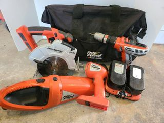 Black and Decker Fire Storm Set with Bag laser Saw Flashlight Hand Vacuum Drill Two 18 Volt Batteries and Dual Charger Box