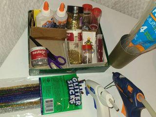 Art and Crafts Supplies  Glue guns glue sticks glitter  glitter and more glitter