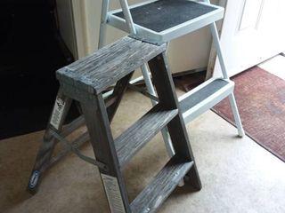 Werner Wood Step ladder with Metal Folding Step ladder