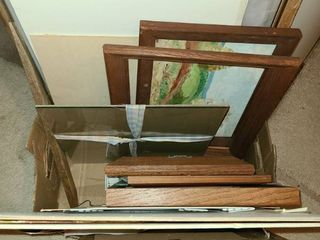 Box of Frames and Art and Glass for frames