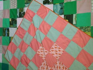 Quilts  2 Handmade Polyester  Green is size 63   x 52  Orange is size 45  x 34