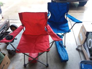 Blue and Red Folding Outdoor Chairs