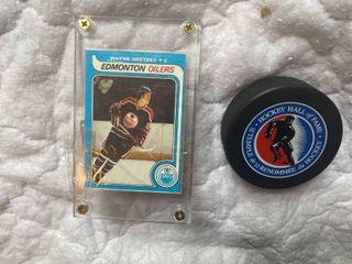 hockey puck and card