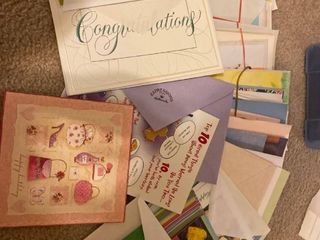 lot of assorted greeting cards and envelopes