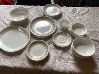 Corelle service for 8 dish set  various plates and bowls  not complete