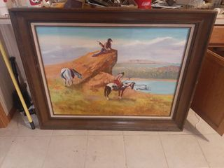 Framed Native American painting on canvas