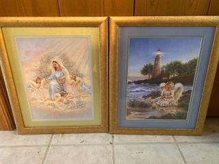 Two framed religious pictures
