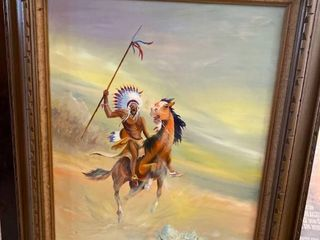 Framed Native American painting