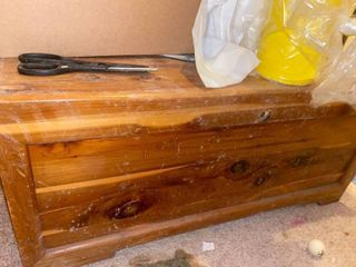 cedar chest in basement   contents not included