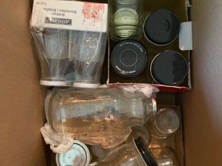 glass bottles and jars approx 16 pcs