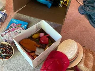 catch all kids lot  hats  toys  crayons