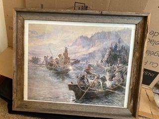 CM Russell Print in Rustic Barnwood Frame