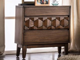 "Kallisto Collection 26"" Nightstand with Wood Veneer Tapered Legs Felt-Line Top Drawer Laser Cut Design and Flat Surface Top in Chestnut"