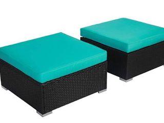 Kinsunny All-Weather Rattan Wicker Bench Seat (2pcs)