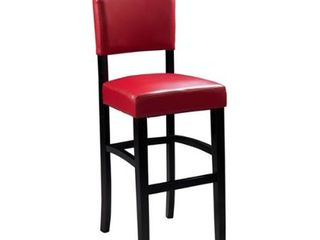 linon Monte Carlo Stationary Bar Stool  Dark Red Vinyl Retail 109 99