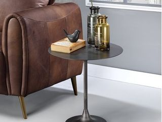 Genoa Round Tray Table with Metal Frame  Espresso