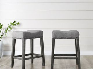 "Roundhill CoCo Upholstered Backless Saddle Seat Counter Stools 24"" height , Gray Set of 2"
