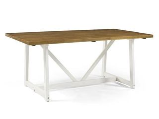 72  Solid Wood Trestle Dining Table   Reclaimed Barnwood White Wash