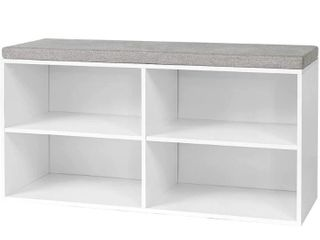 Yak About It   Double Seater Storage Bench with Top Cushion   White  Retail 107 99