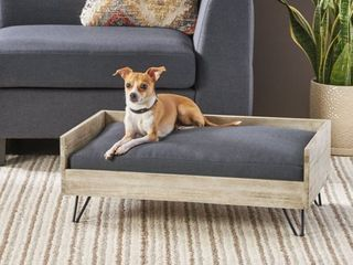 Bonneville Mid-Century Modern Pet Bed with Acacia Wood Frame by Christopher Knight Home- Retail:$88.49