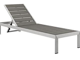 Modway Shore Outdoor Patio Aluminum Chaise Base, Silver/Gray