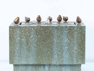 Patina Finish Rectangular Pedestal and Birds Fountain with LED Lights- Retail:$232.25