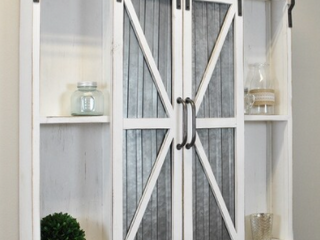 FirsTime   Co  Wynne Farmhouse Barn Door Cabinet  American Crafted  Aged White  Wood  34 x 5 5 x 33 in   34 x 5 5 x 33 in Retail 166 99