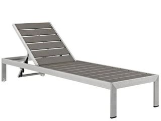 Modway Shore Outdoor Patio Aluminum Chaise Base  Silver Gray