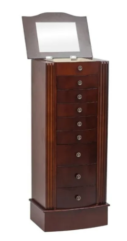 Standing Jewelry Armoire Cabinet Makeup Mirror and Top Divided Storage Organizer, Large Standing Jewelry Armoire Storage Chest Retail:$137.49