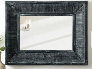 36 inch x 28 inch Charcoal Textured Framed Beveled Wall Mirror Retail 199 99