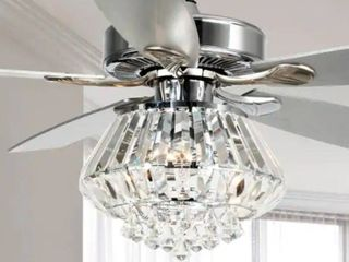 Modern Chrome and Crystal 52-inch Ceiling Fan