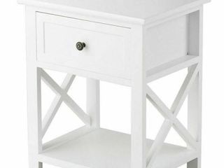 Costway Nightstand white color