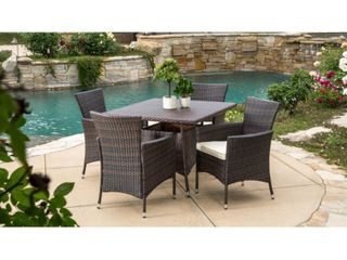 Danielle Outdoor Wicker Dining Table by Christopher Knight Home Table Only