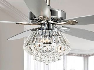 Modern Chrome and Crystal 52-inch Ceiling Fan with Remote Retail:$218.49