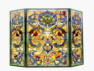 Tiffany-Style Victorian Design 3-panel Fireplace Screen- Retail:$273.99