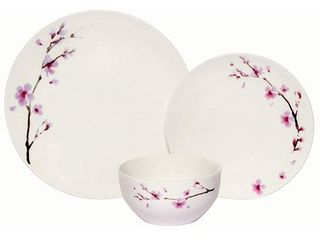 Melange 18 Piece Coupe Porcelain Dinner Set  Pink Zen