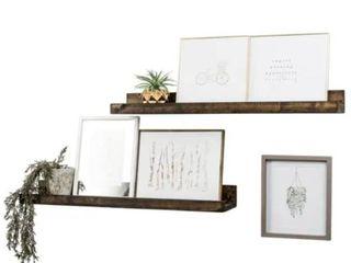 "Handmade 36"" Rustic Luxe Floating Shelf, Set of 2"