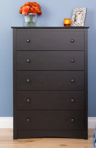 Copper Grove Periyar Washed Black 5-drawer Chest Retail:$245.99