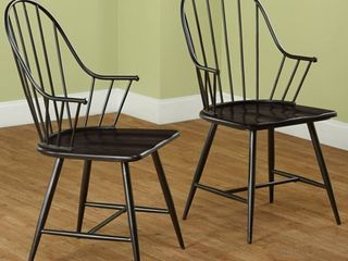 Windsor Mixed Media Arm Chair, Set of 2, Black/Espresso