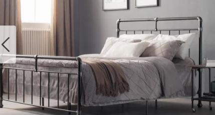 Carbon Loft Meitner Vintage Charcoal Metal Bed Retail:$335.49