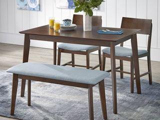 Tiara 4-Piece Mid Century Dining Set with Bench