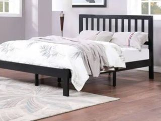 Norgate Modern Farmhouse Acacia Wood Queen Bed Platform by Christopher Knight Home Black Color Slight damage