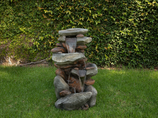 Alpine Corporation 4-Tiered Rock Fountain With Led Lights - Space Gray